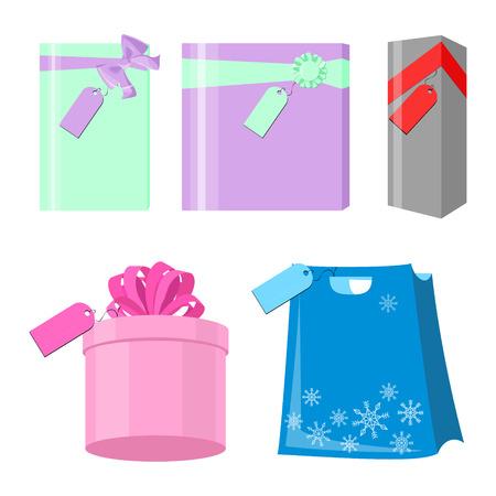 sleek: Set of colorful gift boxes wrapped. Many gifts. Sleek style vector illustration on a white background Illustration