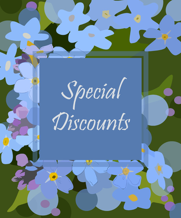 Vector banner special discounts on a floral background. Blue flowers Illustration