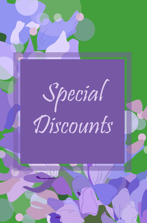 Vector banner special discounts on a floral background. Lilacs