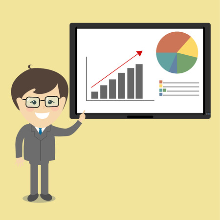 sleek: Businessman in suit and tie doing a presentation explaining the monitor chart . Sleek style vector illustration .
