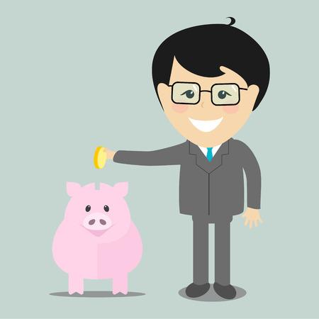 coin bank: Businessman putting a coin into a piggy bank , vector illustration flat