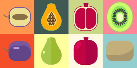 range fruit: Set of fruits and slices on a colorful background. Vector