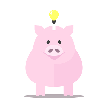 Pink piggy bank idea bulb concept isolated on white background. Pig for saving idea Vector illustration. Illustration