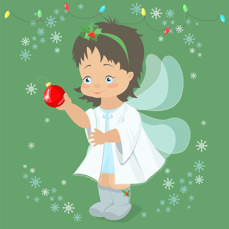 snow queen: Christmas fairy angel holding a Christmas ball in her hand . Vector illustration