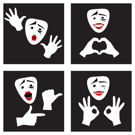 Facial expressions and gestures . Mime mask and gloves . Set. Vector illustration Vetores