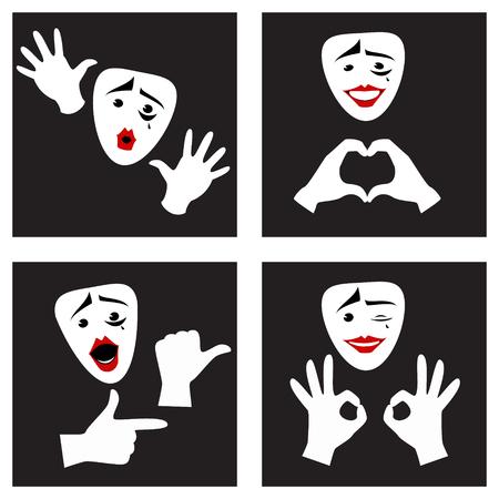 Gezichtsuitdrukkingen en gebaren. Mime masker en handschoenen. Set. vector illustratie Vector Illustratie