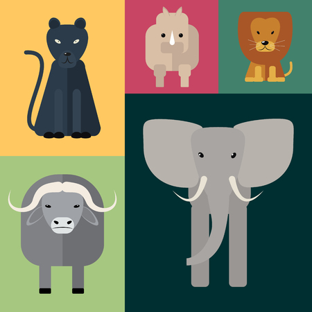 big five: Animals of Africa. Big Five . Vector illustration of a flat on a colored background