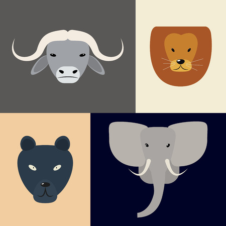 big five: Animals of Africa. Big Five heads. Vector illustration of a flat on a colored background