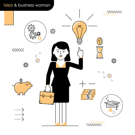 Business woman with an idea. Illustration woman enlightened idea. Linear flat vector on a white background