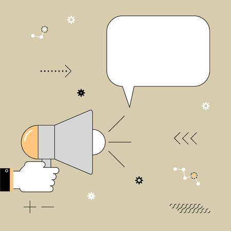 declare: Megaphone. The speaker voiced information. Vector illustration of a linear flat