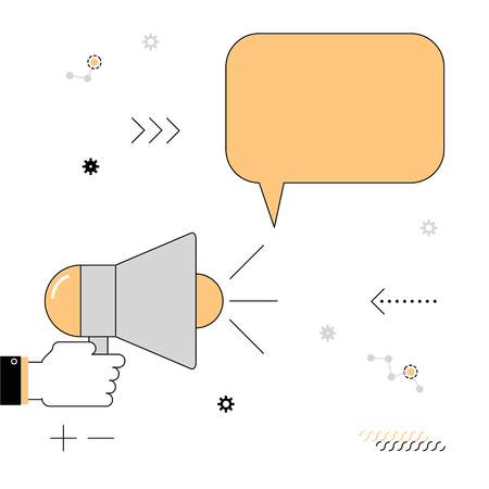 declare: Megaphone. The speaker voiced information. Vector illustration of a linear flat on a white background