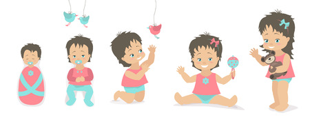 baby sitting: Girls set different ages from birth to five years. Vector illustration. Caucasian