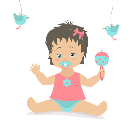 the caucasian: Baby girl sitting with a rattle. Vector cartoon illustration. Caucasian