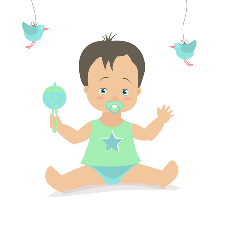 the caucasian: Baby boy sitting with a rattle. Vector cartoon illustration. Caucasian Illustration