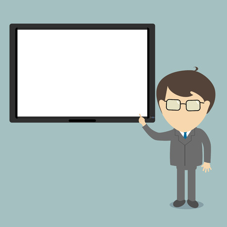 sleek: Businessman in suit and tie doing a presentation explaining the monitor chart. Sleek style vector illustration. Illustration