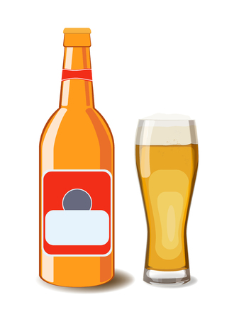 barley hop: A bottle of beer and glass of beer. Vector illustration of beer, isolated. Oktoberfest Illustration