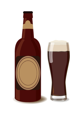 dark beer: Dark beer bottle with a glass of beer. Vector illustration of beer, isolated. Oktoberfest Illustration