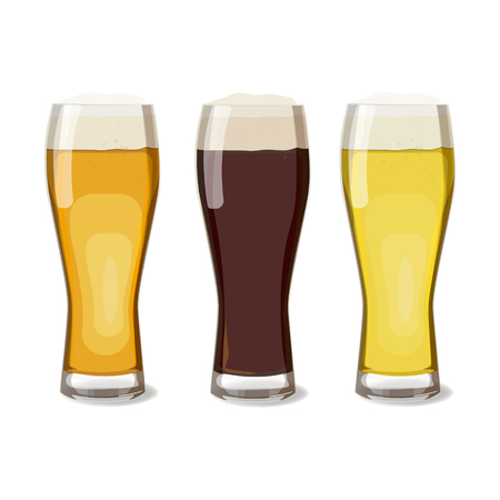 beers: A set of glasses with different beers views. Vector illustration of beer, isolated. Oktoberfest Illustration