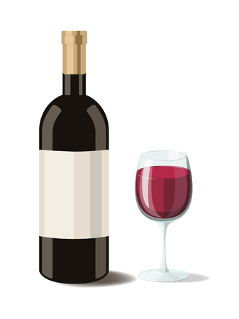 isabella: Alcohol. Bottle of red wine with a glass of wine. Vector illustration