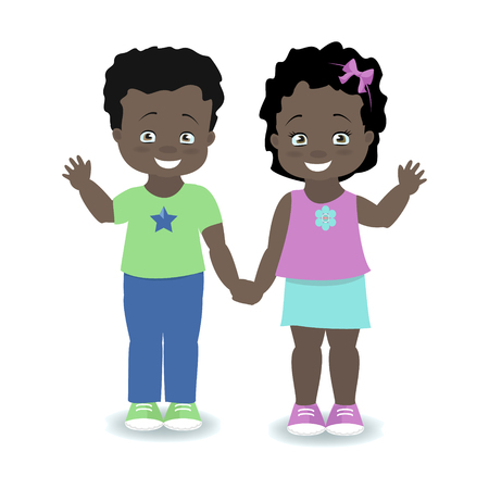 Children. Boy and girl holding hands and smiling. Vector illustration