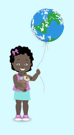 Girl African, American holds the Earth, like a balloon. Vector illustration