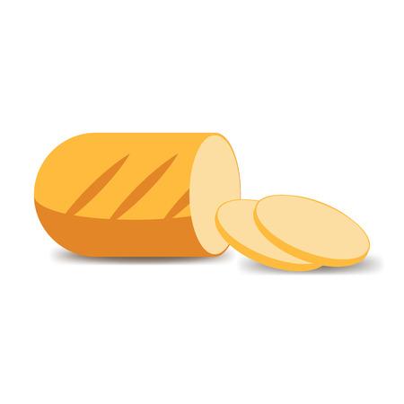 loaf: Cut loaf of white flour. Vector