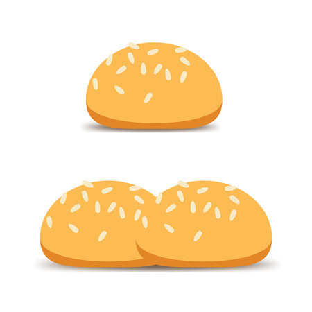 sesame seeds: Bun with sesame seeds. Baked goods made with white flour. Vector Illustration