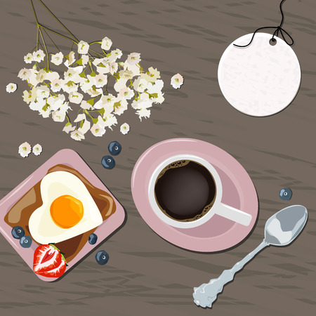 Breakfast view from above. Vector illustration of a cup of coffee, toast and eggs. Flowers. Vector illustration Ilustrace