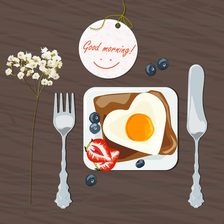 scrambled: Breakfast with the wishes of good morning. Scrambled eggs on toast with strawberries and blueberries. Vector