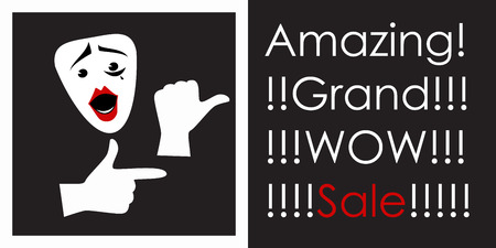 grand sale sticker: Mime points to the discount. Advertising poster. Vector Illustration