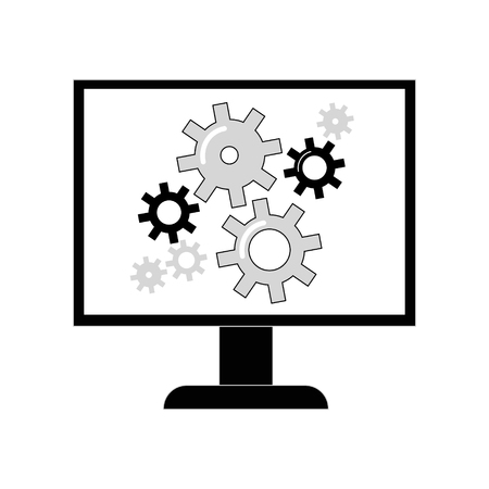 communications tools: Gear icon on the monitor screen. Vector flat line