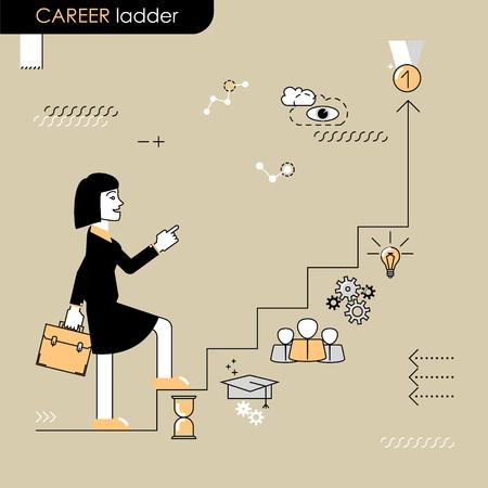 career ladder: Career ladder. Business woman walking on the career ladder. Vector flat line Illustration