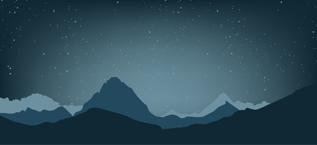 snow climbing: Landscape of the highlands. The night sky and the mountains. Vector illustration