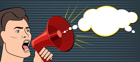 Man shouts through a megaphone. Business News. Vector illustration. pop Art
