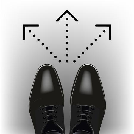 right path: Select a destination. Mens dress shoes. Vector