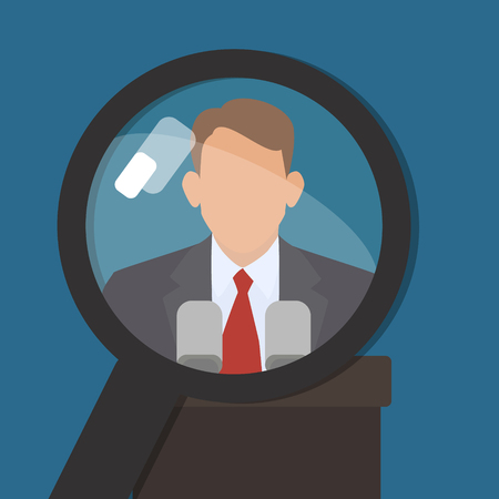 persona: Man under a magnifying glass. Find information about famous world persona. Vector Illustration