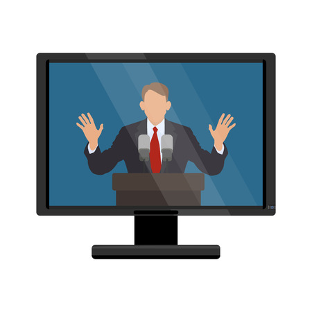 said: The man behind the podium on the monitor screen. Vector illustration of flat Illustration