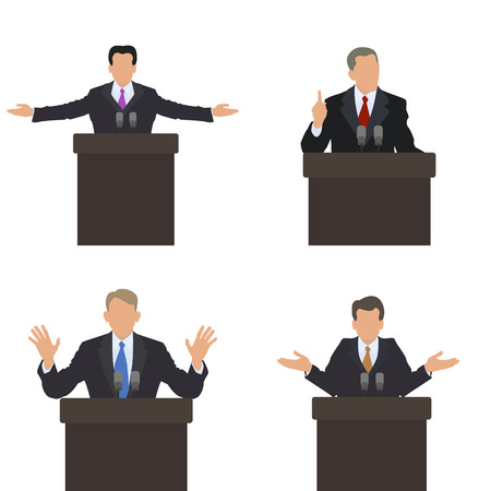 he is different: He stands in front of an audience gestures. Set of different poses. Presentation, presentation, conference, debate. Vector illustrations. Illustration