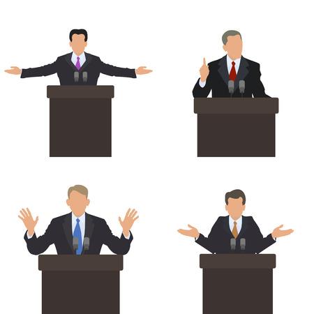 storyteller: He stands in front of an audience gestures. Set of different poses. Presentation, presentation, conference, debate. Vector illustrations. Illustration