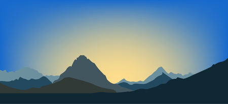 Landscape. Dawn in the mountains. Vector illustration background