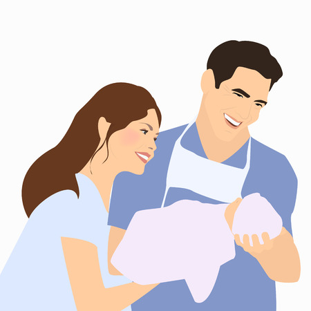 paternity: Parents, father holding newborn after delivery. A happy family. Vector illustration