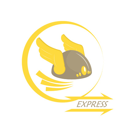 messengers of god: Express delivery. Metaphor. Icon with wings on his helmet. Armor. Vector