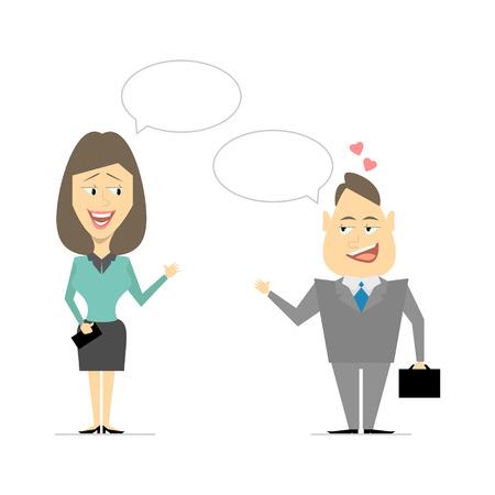 flirting: Speaking of men and women. Business meeting, flirting. Cartoon vector Illustration
