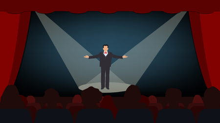 The scene with the open curtain, the actor on the stage. Start the show. Vector Illustration