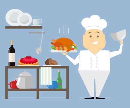 planar: Chef is in the kitchen, holding a hot dish. Turkey roast. vector