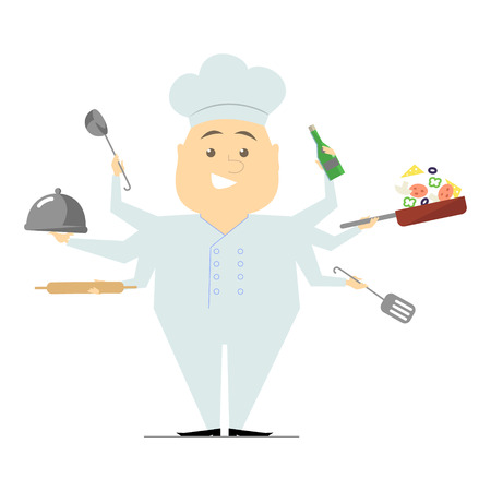 sir: Multitasking chef with six hands, standing on white background holding a frying pan with vegetables, hot dish. The restaurants chef. Vector