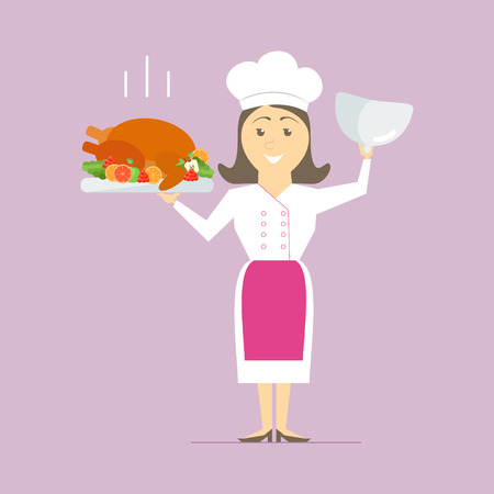 talented: A female chef in the kitchen, holding a hot dish. Turkey on the grill with vegetables. vector Illustration