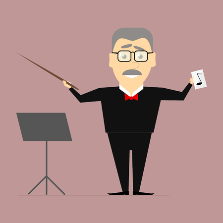 melodic: The conductor on the stage with a baton in his hand. Vector flat Illustration
