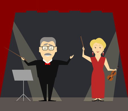 conductors: The conductor and first violin standing on the stage. The woman violinist. Vector illustration Illustration