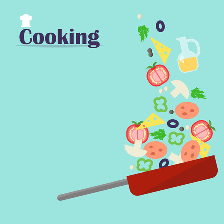 mushroom soup: Cooking. Sliced ??vegetables fall into the pan. Vector illustration of a flat